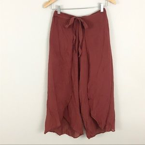 Zara medium Cropped Wide Leg Pants Red